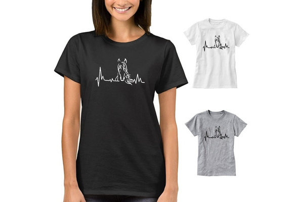 Horse Women Cotton Short Sleeves Crew Neck T Shirt For Famale      XC