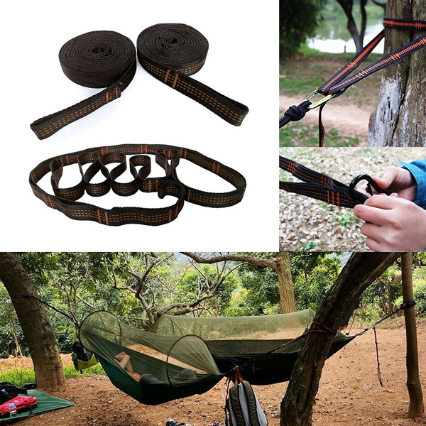 New Camping Tree Hanging Hammock Straps Climbing Rope Aerial Extend Stretch Belt