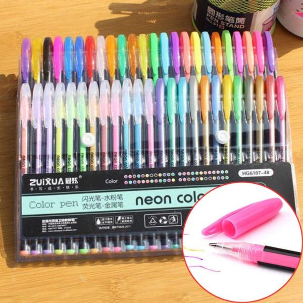 48 Colors Neon Gel Ink Pens Set Drawing Painting Coloring Art Album Markers DIY^