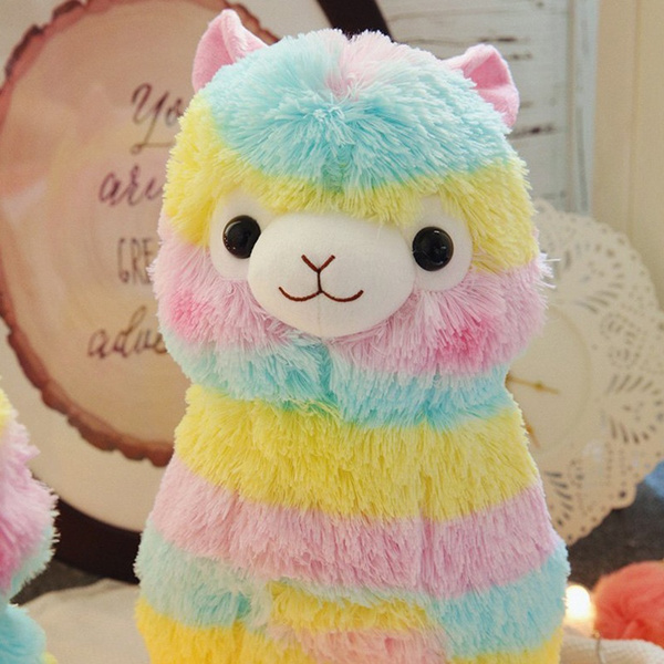 Kawaii cute new rainbow alpaca llama soft plush toy doll kids baby gift