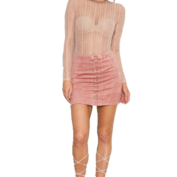 Women Suede Lace Up Mini Skirts Leather Pencil Skirt Winter High Waist Bodycon Short Skirts