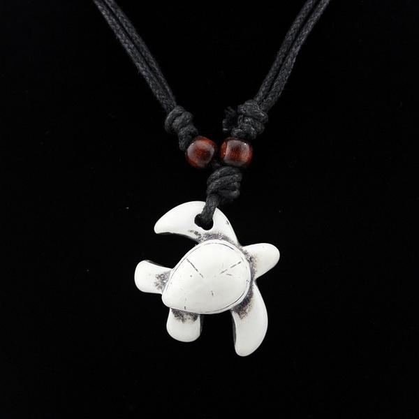 Retro Animal Turtle Necklace Choker Imitation Bone Carved Nz Maori Tribe Totem Amulet Pendant Women Gift Wish