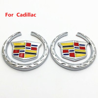 6cm Grille Wreath /& Crest Emblem Silver Plated 3D Logo Symbol Stickers Metal Decals Labeling for Cadillac Escalade DIY 2 Pack Emblem Badge for Cadillac