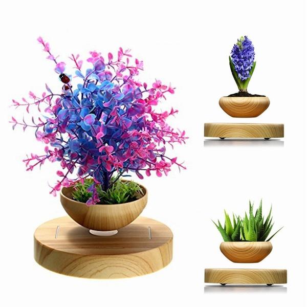 ROV Home Decor Electronic Megnetic Levitation LED Floating Rotation  Flowerpot DIY Floating Decor Gift