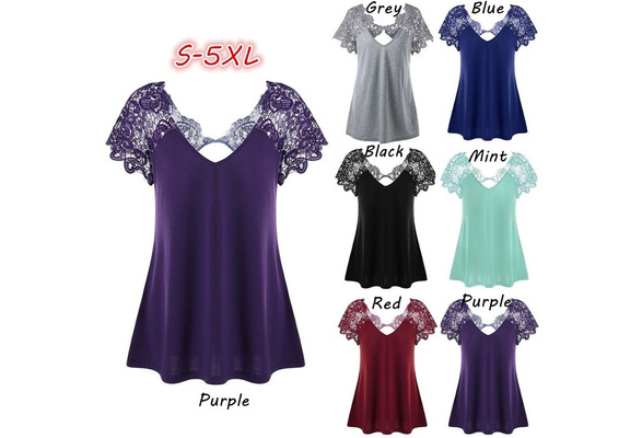 Women's Fashion V-neck Lace Patchwork Sexy Pure Color Cotton Short Sleeve T-shirt ZH5547