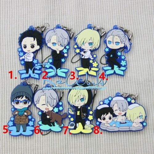 Japan Anime Yuri!! on Ice Victor Yuri Rubber Strap Charm Keychain Pendant Gift