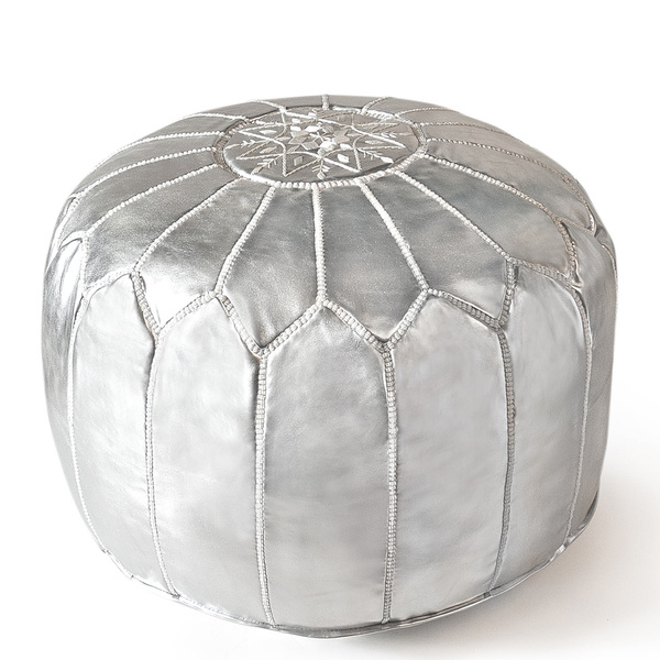 Astonishing Berber Bazar Moroccan Pouf Luxury Seat Genuine Leather Poufs Ottoman Embroidered Silver Unstuffed Theyellowbook Wood Chair Design Ideas Theyellowbookinfo