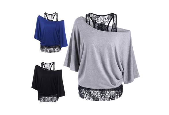 Summer 5 Color Cotton Lace Bat Sleeves Oblique Collar Women's T shirt Plus Size Lace Vest Tops