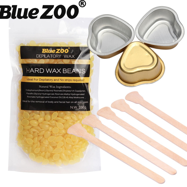 BlueZOO Honey Depilatory Hard Wax Beads 100g Solid Hot Film Waxing Pellets  with Sticks and Small Melting Pots for Face Underarm Nose Hair Removal