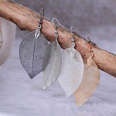 Mujer, leaf, Joyería, vintage earrings