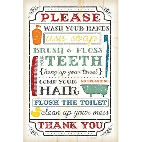 Sagebrush Fine Art PDXJP4068SMALL Bathroom Rules Poster Print by Jennifer  Pugh, 12 x 18 - Small