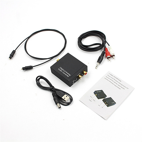 3.5mm Digital Coaxial Toslink Optical to Analog L//R RCA Audio Converter Adapt Optical Fiber Cable
