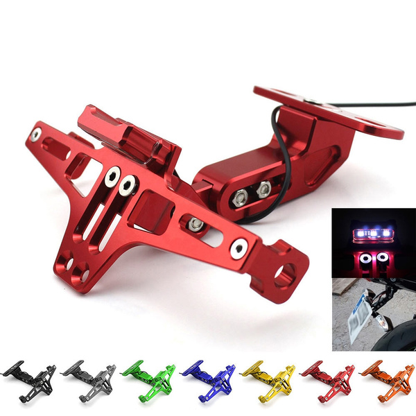 Universal CNC Aluminum Motorcycle Rear License Plate Mount Holder with White LED
