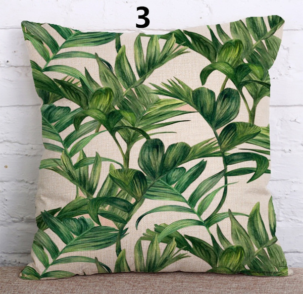 Wish | Palm Tree Cushion Cover Green Leaf Tropical Plant Flamingo Birds  Pillow Cases Eye Protection Oil Paint Bedroom Sofa Decor