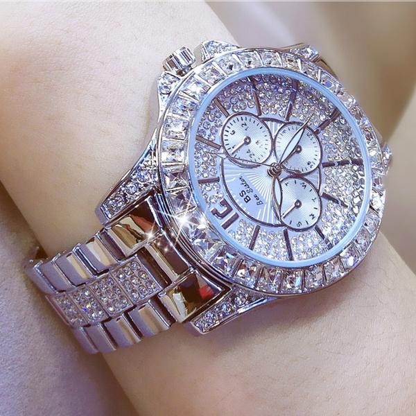 Diamond Rose Gold Women Rhinestone Watch Female Fashion Steel Women Quartz Bling Dress Watch For Ladies Bracelet Watch