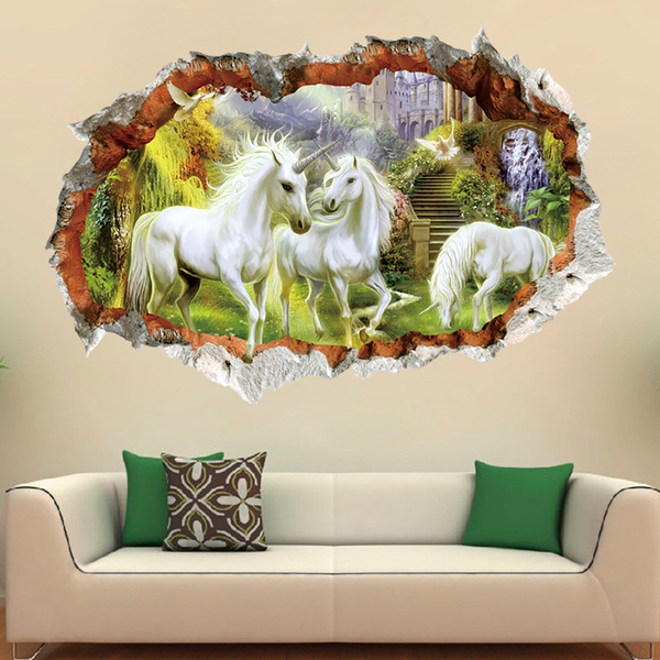 3d Wallpaper White Horse Broken Wall Photo Mural Hotel Cafe Living Room Sofa Tv Backdrop Personalized Decoration Mural Wallpaper