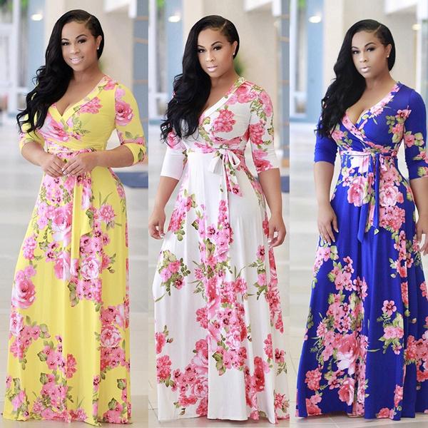 Deep V-Neck, Fashion, Floral print, Vintage Dresses