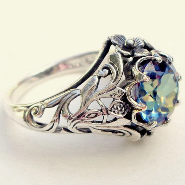 Rings for Her Sterling Silver Rings Round Blue Topaz Rings Vintage