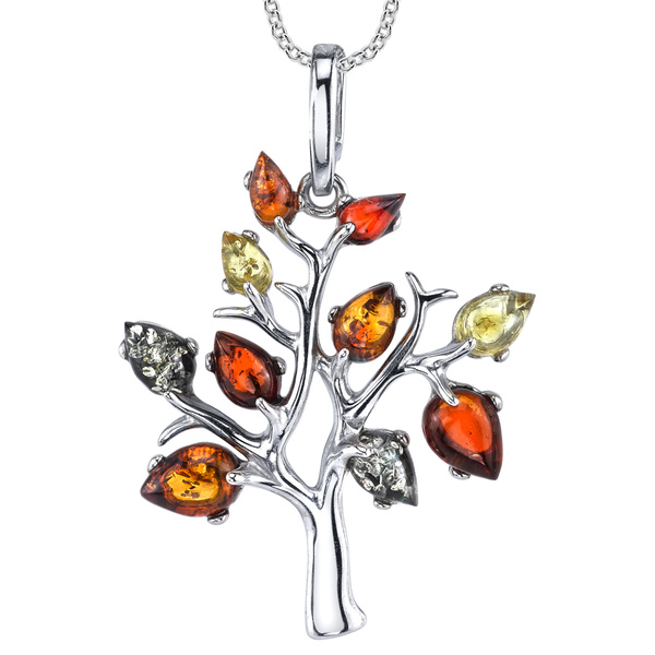 rolochain, solidsilver, treeoflifependant, amberjewelry