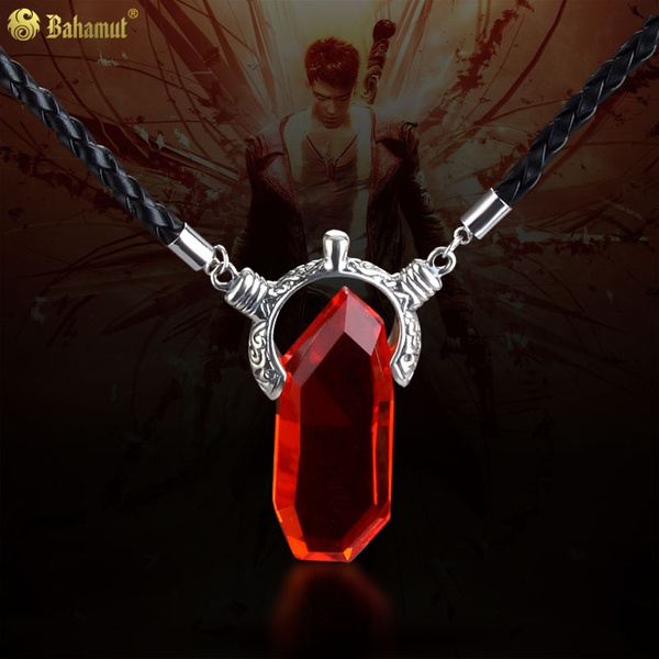 Trendy Anime Game Necklace Cosplay Dmc Devil May Cry Necklace Unisex Dante Crystal Pendant Rope Chain Necklace Collar