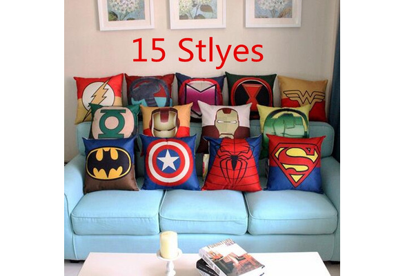 2017 Fashion High Quality Super Hero Sofa Pillow Case Car Back Cushion