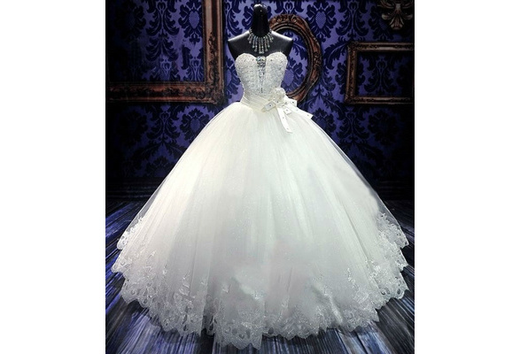 Sweetheart Applique Lace up A Line Sweep Train Charming Button Lace Wedding Dress Wedding Gown slace bridal