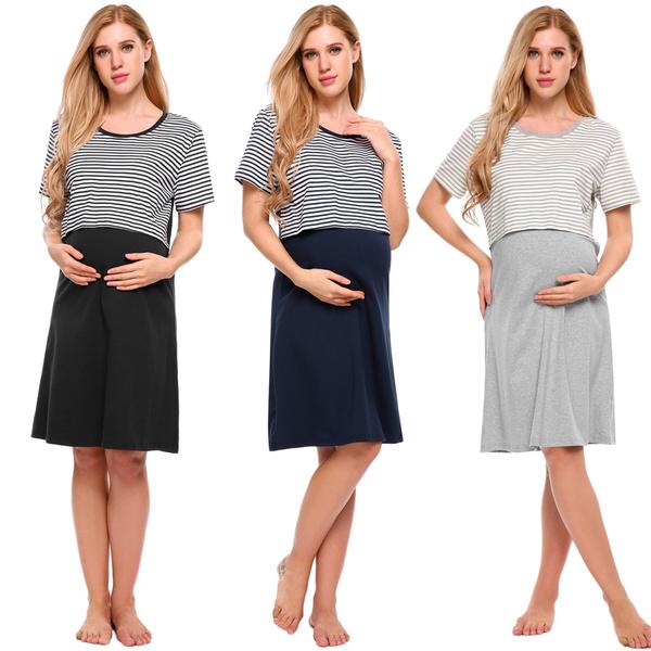 d864719a81c4d _MC Women Maternity Nightgown Nursing Dress Short Sleeve Striped ...