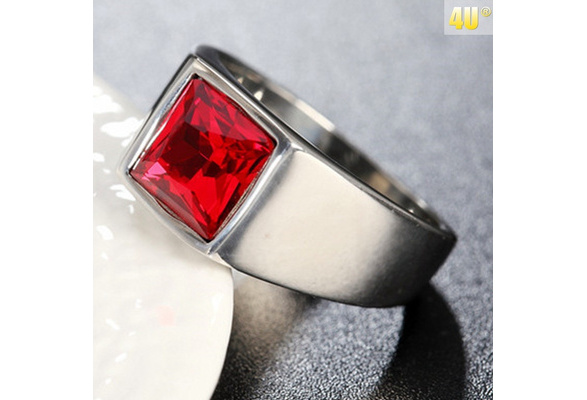 Men's Square Created Rubies Genunie Sliver Titanium Steel Engagement Ring for Men Fashion Jewelry Gift