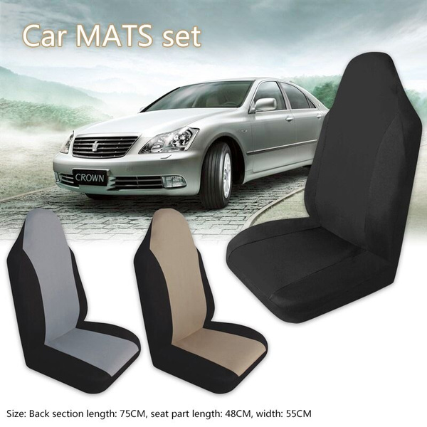 Hot Sale Charcoal Car Seat Covers For Car Auto Suv Polyester Cloth Integrated Headrests Modern Wish