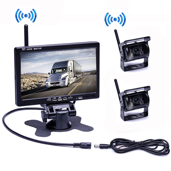 "7/"" HD Monitor for Bus Truck RV 2x Wireless IR Rear View Reversing Backup Camera"