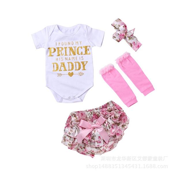 4Pcs Cute Newborn Baby Girls Cotton Tops Romper Floral Pants Outfits Set Clothes