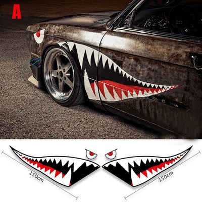 Personality Creative Shark Mouth Style 2pcs High Grade Kk Material Universal Car Stickers