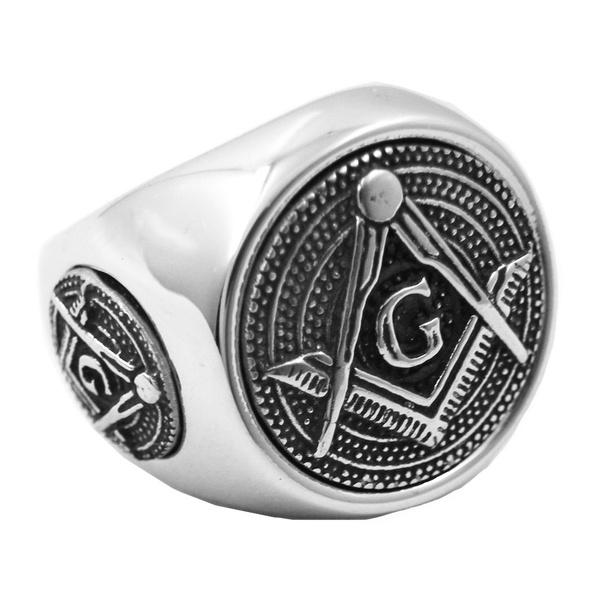 Stainless steel jewelry freemasonry blue lodge master mason masonic ring