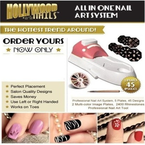 Hollywood Nails All In One Professional Nail Art System Kit As Seen