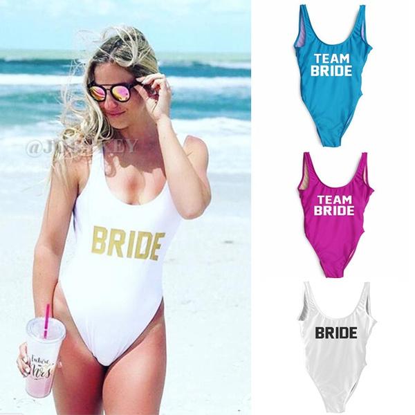bbb996b76bab4 TEAM BRIDE Letter Printing One Piece Swimsuit High Cut Bikini Beach ...