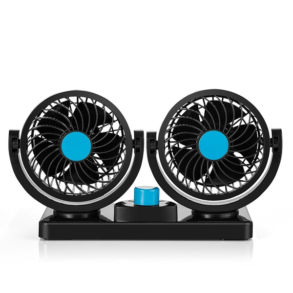Car Fan 12V Electric Car Fan 2 Speed Adjustable Auto Cooling Air Fan 360 Degree Rotatable Double Head for SUV//RV Vehicles
