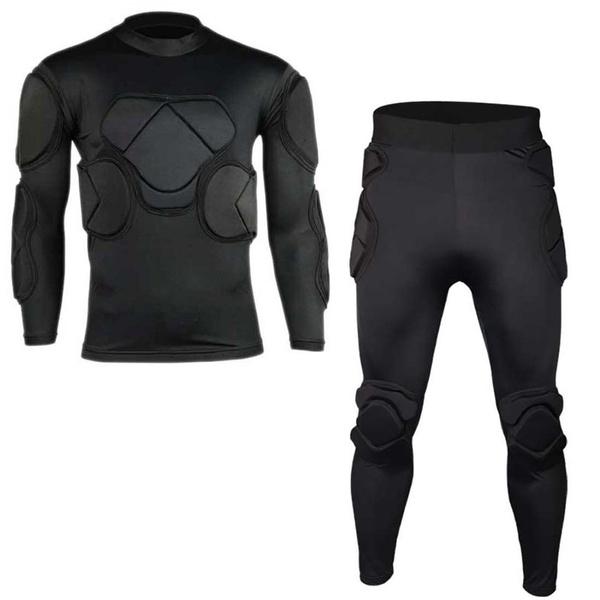 ca9a1e71118 Men Soccer Goalkeeper Uniform Foam Padded Jersey Shirt   Pants Long ...
