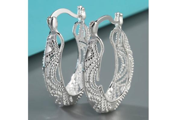 Gorgeous Women 925 Solid Sterling Silver Stud Hoop Dangle Earring Bridal Wedding Jewelry