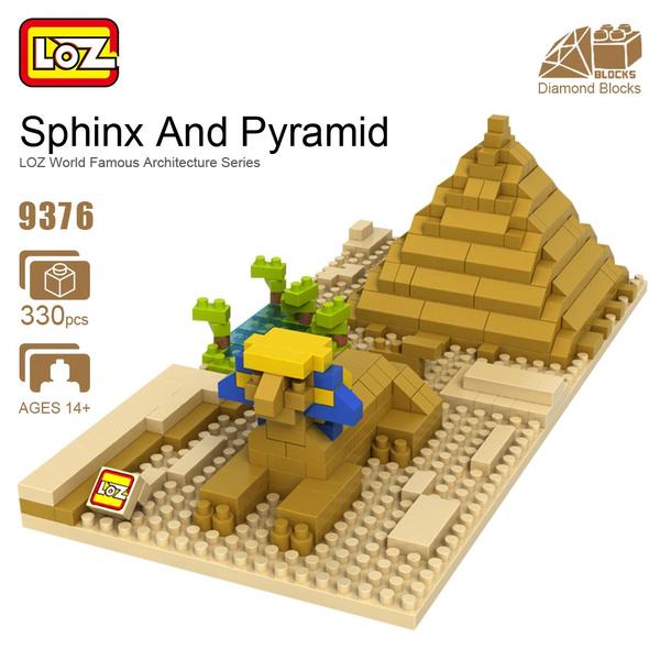 LOZ ideas Diamond Block Sphinx Pyramid Cairo Egypt Classic Miracle  Architecture Famous Mini Toy Forge World Building Puzzle 9376