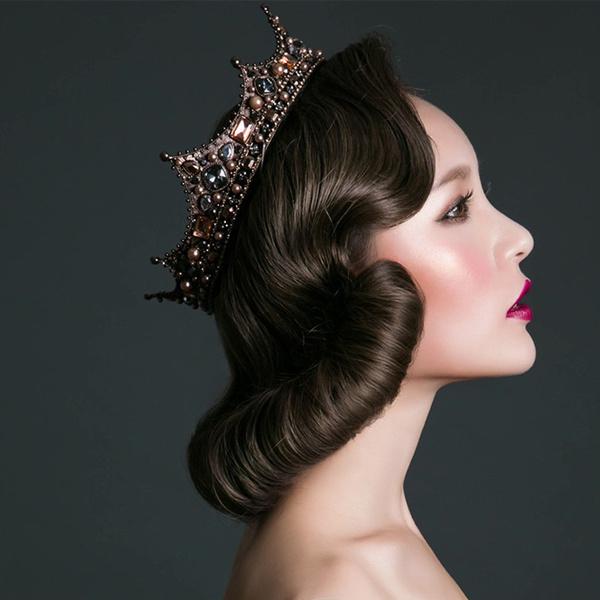 Wish Baroque Vintage Black Rhinestone Beads Round Big Crown