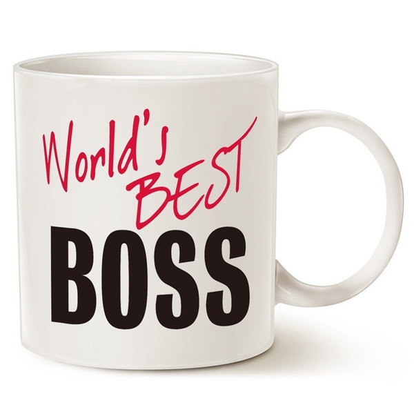 MAUAG Unique Gifts Worlds Best BOSS Funny Ceramic Coffee Mug White 11 Oz
