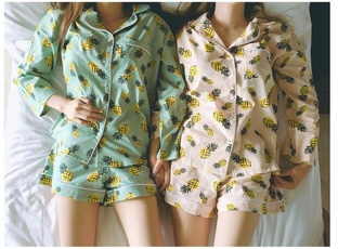 Fashion, fruitprintsleepwearwomen, Long Sleeve, sweethomewear