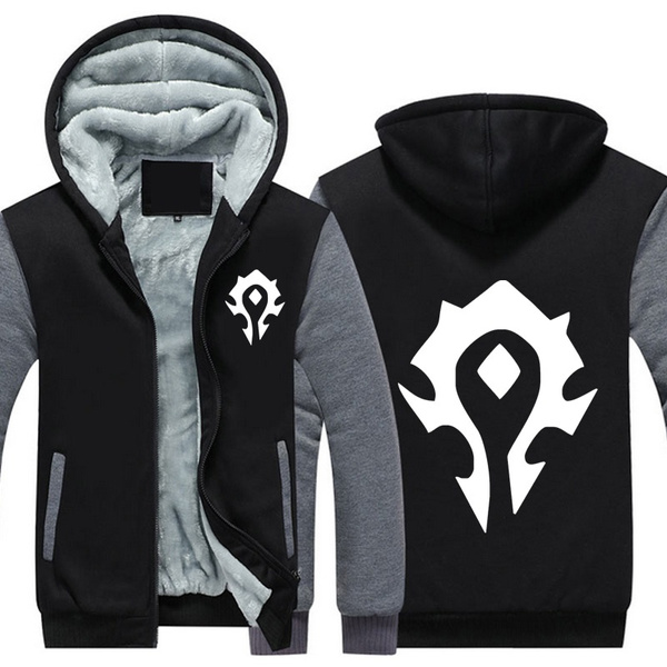 World of Warcraft Mens Hooded Game WOW Horde Print Sweatshirt Mens Zipper Hoodies Thick Coats
