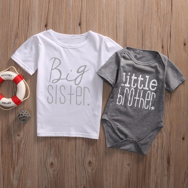Infant Baby Little Brother Romper Big Brother T-shirt Match Clothes Outfit Set