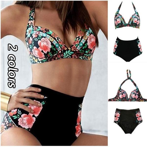 d5f92a135562 2 Colors Summer Women's Fashion Bikin Swimwear Print Floral High ...