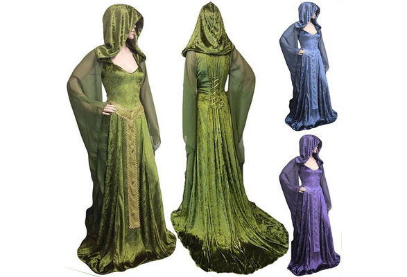 3 Color Halloween Cosplay Costume Vintage High Quality Loose Noble Patchwork Witch Long Sleeve Maxi Dress