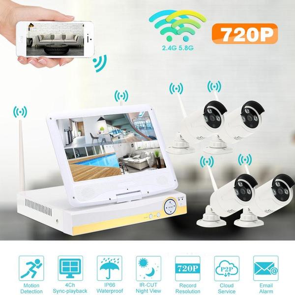 ROMACCI 10 1 4CH 720P HD WiFi NVR Kit with 4pcs 1 0MP Wireless WiFi  Waterproof Outdoor Bullet IP Camera Support P2P Onvif IR-CUT Night Vision
