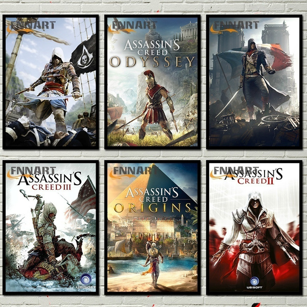 2 Style Assassin's Creed Art Around Abstract Kraft Paper Unity/origins/  Cover Vintage Game Poster 42 X 30cm(11 6*16 5 Inch)