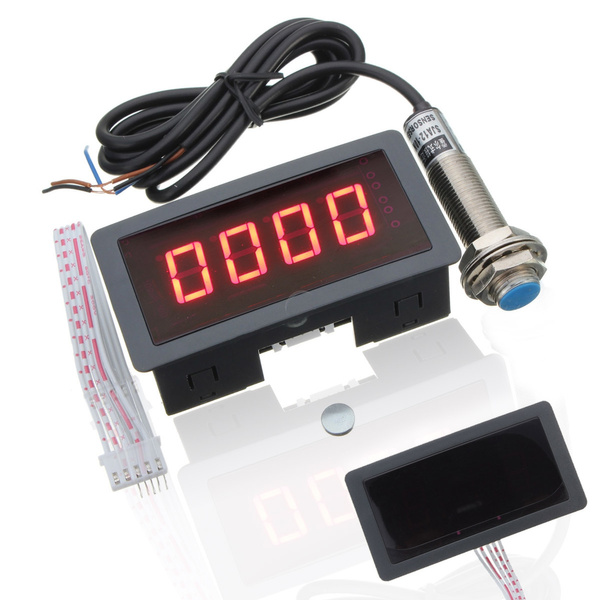 New 4 Digital Red LED Tachometer RPM Speed Meter Hall Proximity Switch  Sensor NPN 3 Wires Normally Open