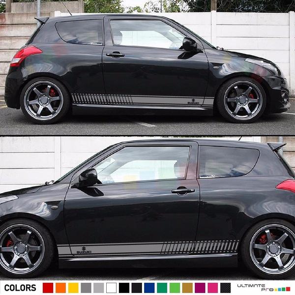 2pcs Sticker Decal Graphic Body Kit Stripes For Suzuki Swift Sport Lip Bumper Spoiler